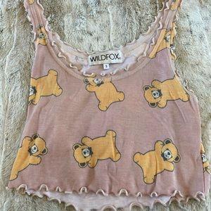 Wild Fox Teddy Bear Crop Top Size Small